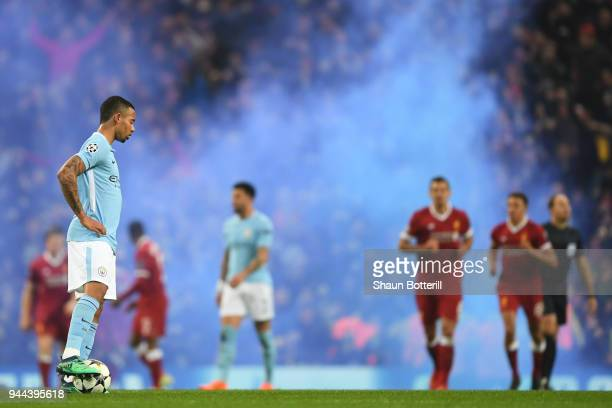 Gabriel Jesus of Manchester City looks on during the UEFA Champions League Quarter Final Second Leg match between Manchester City and Liverpool at...