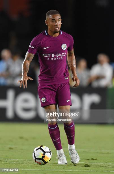 Gabriel Jesus of Manchester City looks to pass against Real Madrid during the first half of their International Champions Cup 2017 soccer match at...
