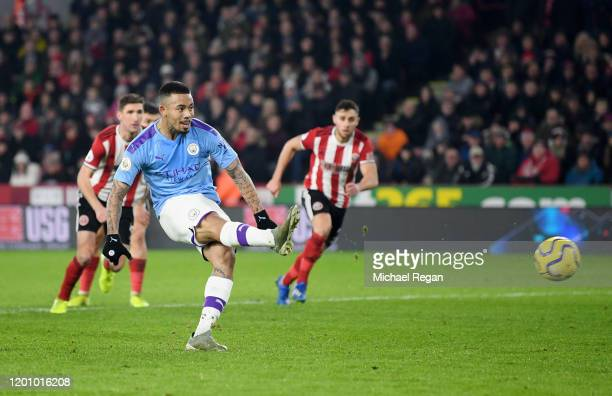 Gabriel Jesus of Manchester City misses a penalty during the Premier League match between Sheffield United and Manchester City at Bramall Lane on...