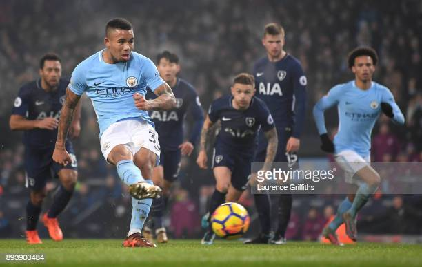 Gabriel Jesus of Manchester City misses a penalty during the Premier League match between Manchester City and Tottenham Hotspur at Etihad Stadium on...