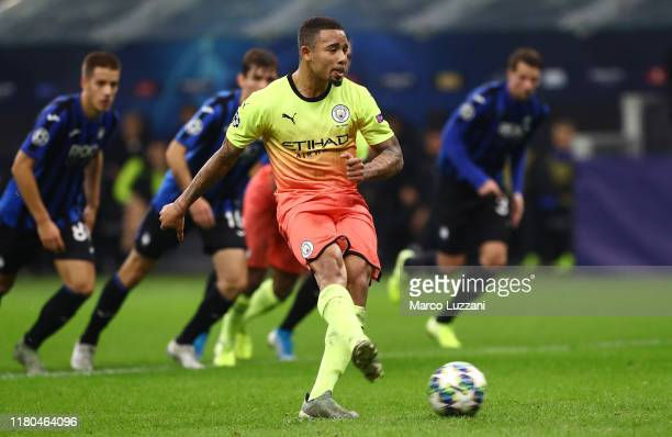 Gabriel Jesus of Manchester City misses a penalty during the UEFA Champions League group C match between Atalanta and Manchester City at Stadio...