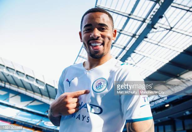 Gabriel Jesus of Manchester City models the 2021-22 season away kit at the Etihad Stadium on July 29, 2021 in Manchester, England.