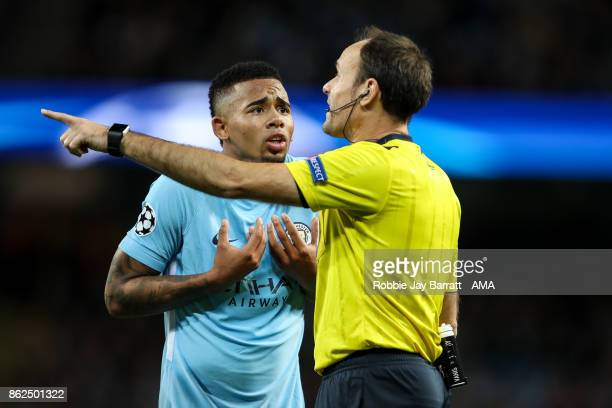 Gabriel Jesus of Manchester City pleads with Referee Antonio Mateu Lahoz after conceding a penalty during the UEFA Champions League group F match...
