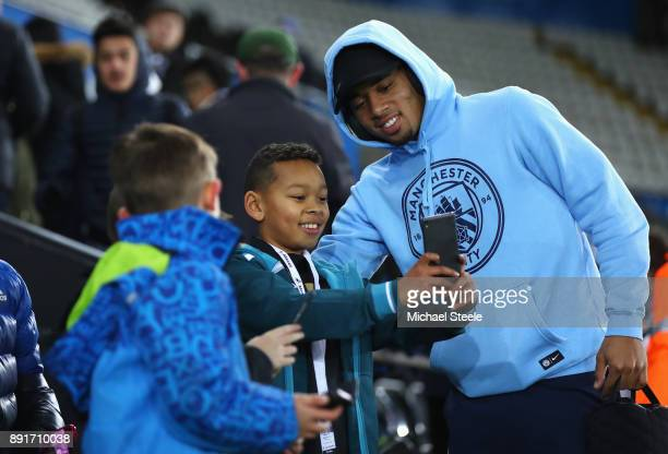 Gabriel Jesus of Manchester City poses for photos with fans as he arrives prior to the Premier League match between Swansea City and Manchester City...