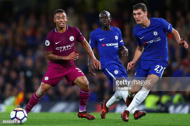 Gabriel Jesus of Manchester City puts pressure on Andreas Christensen of Chelsea during the Premier League match between Chelsea and Manchester City...