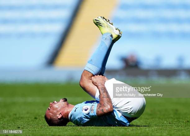 Gabriel Jesus of Manchester City reacts after being fouled during the Premier League match between Manchester City and Leeds United at Etihad Stadium...