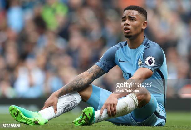Gabriel Jesus of Manchester City reacts after missing a chance during the Premier League match between Manchester City and Crystal Palace at the...