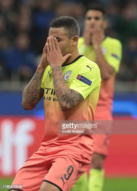 Gabriel Jesus of Manchester City reacts after missing a penalty kick during the UEFA Champions League group C match between Atalanta and Manchester...