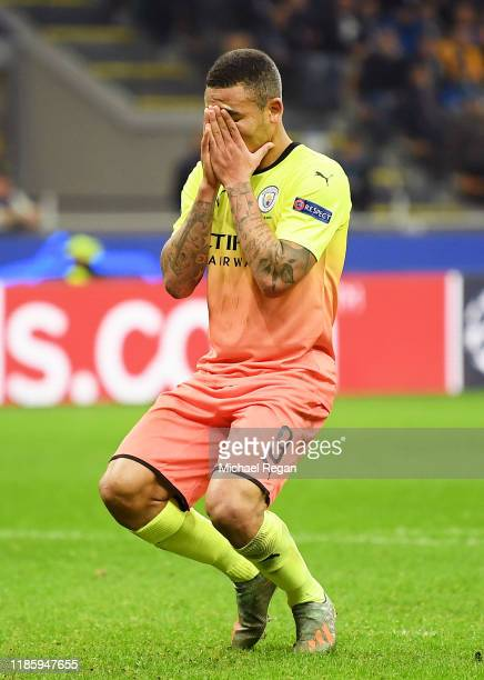 Gabriel Jesus of Manchester City reacts after missing a penalty during the UEFA Champions League group C match between Atalanta and Manchester City...