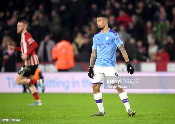 Gabriel Jesus of Manchester City reacts after missing a penalty during the Premier League match between Sheffield United and Manchester City at...