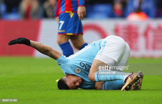 Gabriel Jesus of Manchester City reacts as he is injured during the Premier League match between Crystal Palace and Manchester City at Selhurst Park...