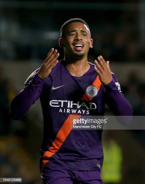 Gabriel Jesus of Manchester City reacts during the Carabao Cup Third Round match between Oxford United and Manchester City at Kassam Stadium on...