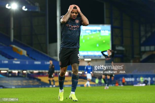 Gabriel Jesus of Manchester City reacts during the Premier League match between Everton and Manchester City at Goodison Park on February 17, 2021 in...