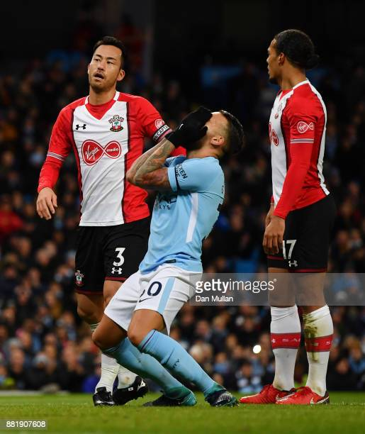 Gabriel Jesus of Manchester City reacts during the Premier League match between Manchester City and Southampton at Etihad Stadium on November 29 2017...