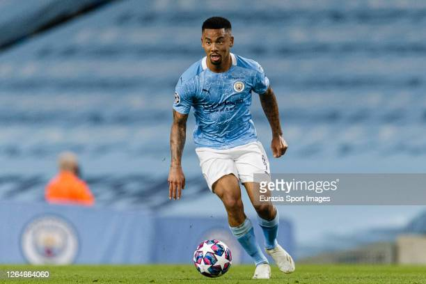 Gabriel Jesus of Manchester City runs with the ball during the UEFA Champions League round of 16 second leg match between Manchester City and Real...