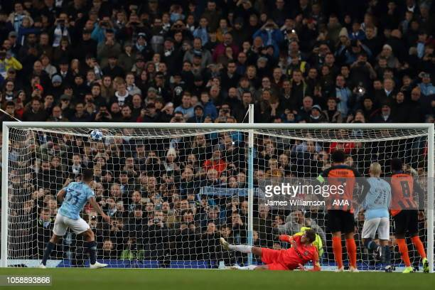 Gabriel Jesus of Manchester City scores a goal to make it 40 during the Group F match of the UEFA Champions League between Manchester City and FC...