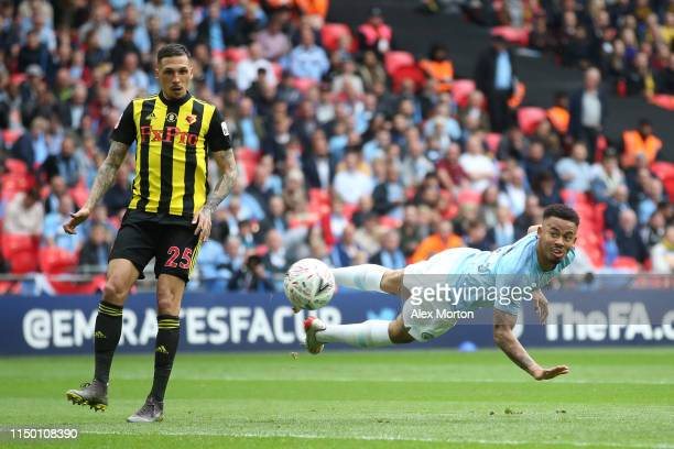 Gabriel Jesus of Manchester City scores a header which is disallowed for offside during the FA Cup Final match between Manchester City and Watford at...