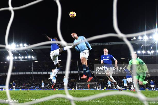 Gabriel Jesus of Manchester City scores his sides second goal during the Premier League match between Everton FC and Manchester City at Goodison Park...
