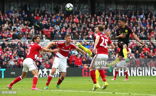 Gabriel Jesus of Manchester City scores his sides second goal during the Premier League match between Middlesbrough and Manchester City at the...