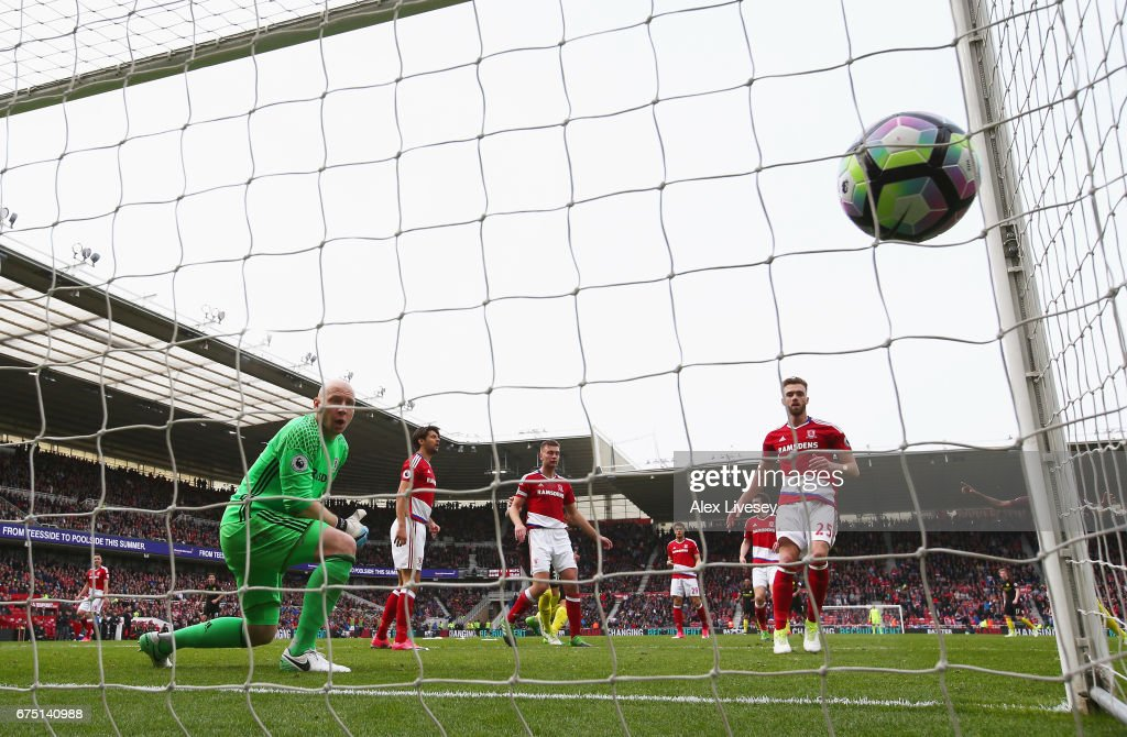 Gabriel Jesus of Manchester City (obscure) scores his sides second goal past Brad Guzan of Middlesbrough during the Premier League match between Middlesbrough and Manchester City at the Riverside Stadium on April 30, 2017 in Middlesbrough, England.