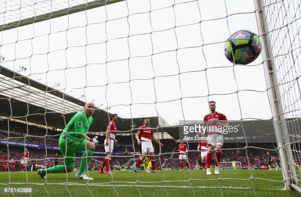 Gabriel Jesus of Manchester City scores his sides second goal past Brad Guzan of Middlesbrough during the Premier League match between Middlesbrough...