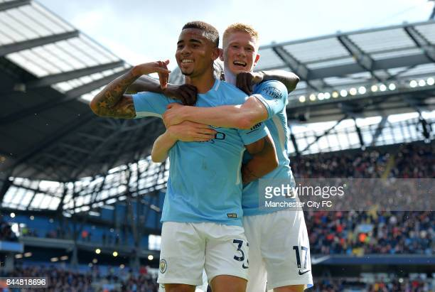 Gabriel Jesus of Manchester City scores his sides second goal with Kevin De Bruyne of Manchester City during the Premier League match between...