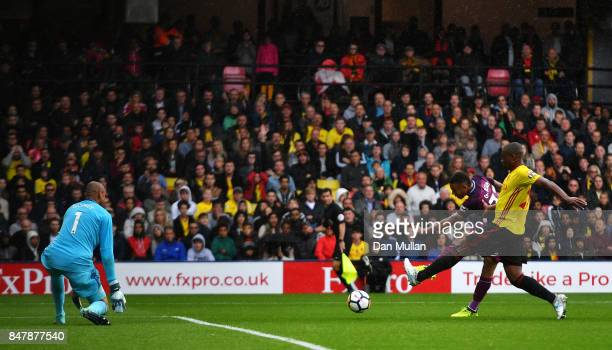 Gabriel Jesus of Manchester City scores his sides third goal past Heurelho Gomes of Watford during the Premier League match between Watford and...