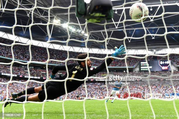 Gabriel Jesus of Manchester City scores his sides winning penalty in the penalty shoot out during the FA Community Shield match between Liverpool and...