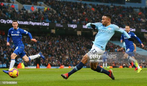 Gabriel Jesus of Manchester City scores his team's first goal during the Premier League match between Manchester City and Everton FC at Etihad...