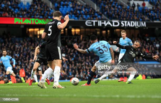 Gabriel Jesus of Manchester City scores his team's first goal during the FA Cup Fourth Round match between Manchester City and Burnley at Etihad...