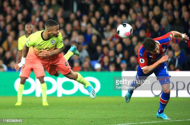 Gabriel Jesus of Manchester City scores his teams first goal during the Premier League match between Crystal Palace and Manchester City at Selhurst...