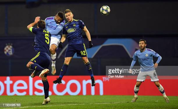 Gabriel Jesus of Manchester City scores his team's first goal during the UEFA Champions League group C match between Dinamo Zagreb and Manchester...