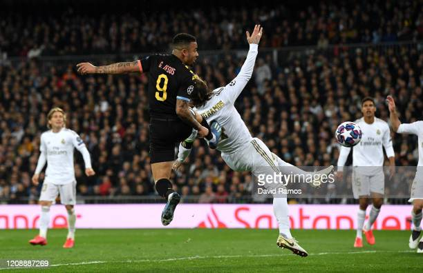 Gabriel Jesus of Manchester City scores his team's first goal during the UEFA Champions League round of 16 first leg match between Real Madrid and...