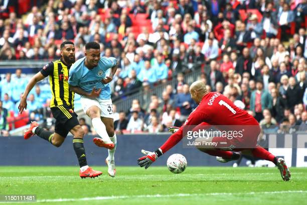 Gabriel Jesus of Manchester City scores his team's fourth goal during the FA Cup Final match between Manchester City and Watford at Wembley Stadium...