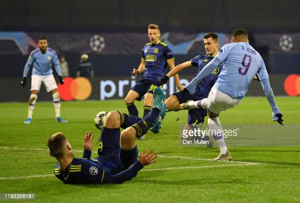 Gabriel Jesus of Manchester City scores his team's second goal during the UEFA Champions League group C match between Dinamo Zagreb and Manchester...