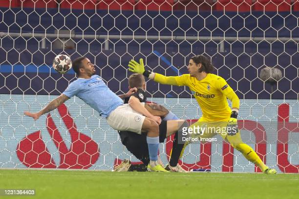 Gabriel Jesus of Manchester City scores his team's second goal during the UEFA Champions League Round of 16 match between Borussia Moenchengladbach...