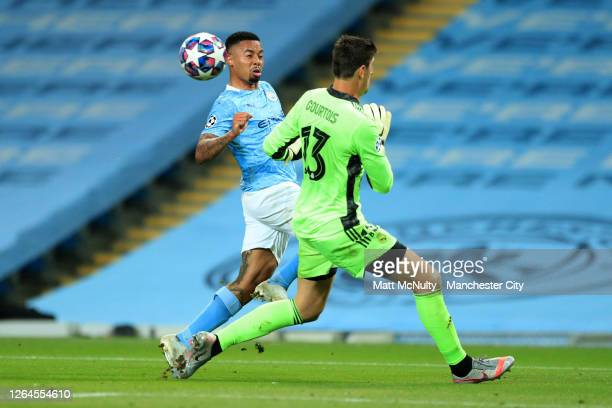 Gabriel Jesus of Manchester City scores his team's second goal past Thibaut Courtois of Real Madrid during the UEFA Champions League round of 16...