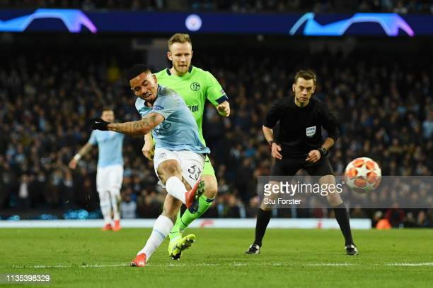 Gabriel Jesus of Manchester City scores his team's seventh goal during the UEFA Champions League Round of 16 Second Leg match between Manchester City...