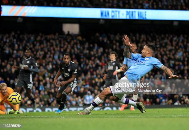 Gabriel Jesus of Manchester City scores his team's third goal during the Premier League match between Manchester City and Leicester City at Etihad...