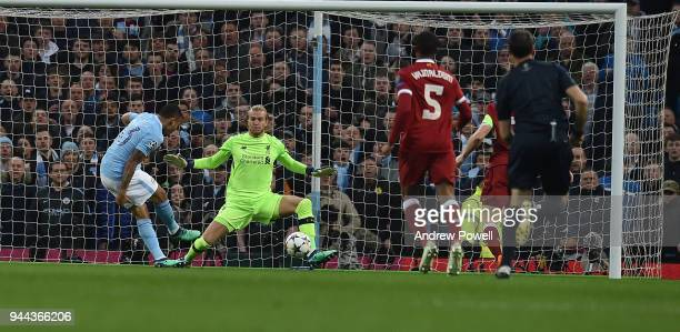 Gabriel Jesus of Manchester City Scores the opener during the UEFA Champions League Quarter Final Second Leg match between Manchester City and...