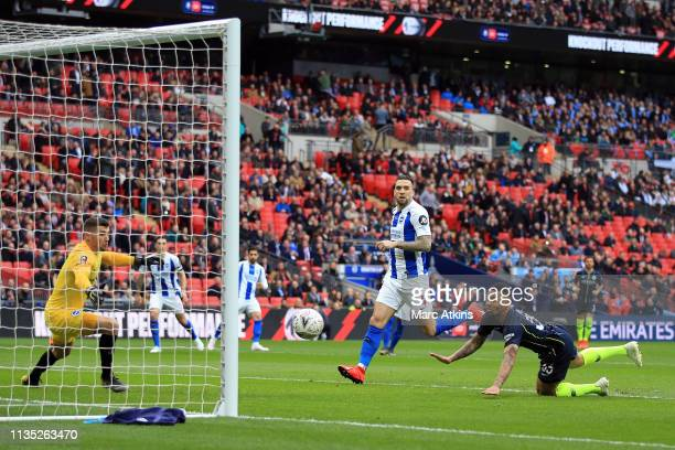 Gabriel Jesus of Manchester City scores the opening goal during the FA Cup Semi Final match between Manchester City and Brighton and Hove Albion at...