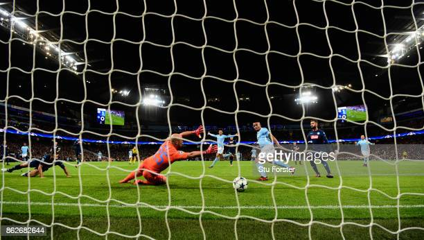 Gabriel Jesus of Manchester City scores the second City goal past Pepe Reina during the UEFA Champions League group F match between Manchester City...