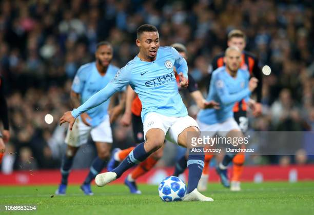 Gabriel Jesus of Manchester City scores the second goal from the penalty spot during the UEFA Champions League Group F match between Manchester City...