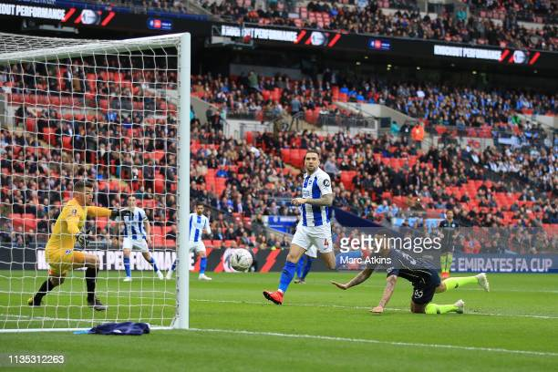 Gabriel Jesus of Manchester City scores the winning goal during the FA Cup Semi Final match between Manchester City and Brighton and Hove Albion at...