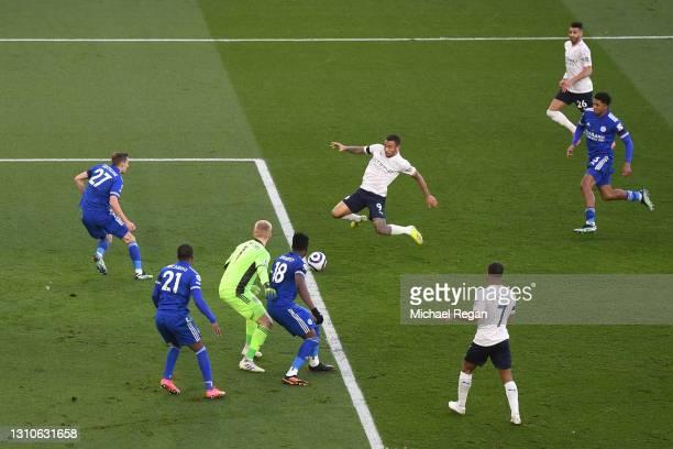 Gabriel Jesus of Manchester City scores their team's second goal during the Premier League match between Leicester City and Manchester City at The...