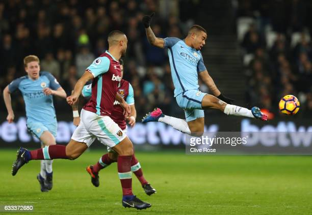 Gabriel Jesus of Manchester City shoots at goal during the Premier League match between West Ham United and Manchester City at London Stadium on...
