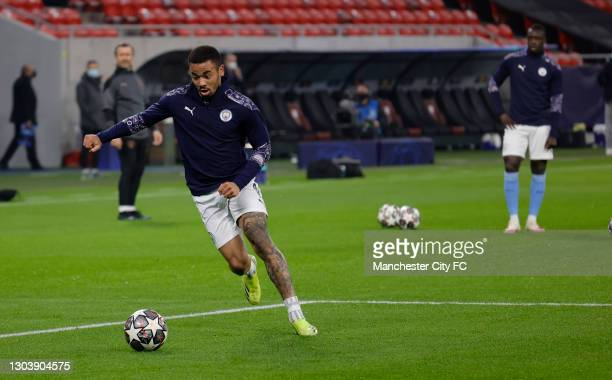 Gabriel Jesus of Manchester City shoots during the warm up prior to the UEFA Champions League Round of 16 match between Borussia Mönchengladbach and...