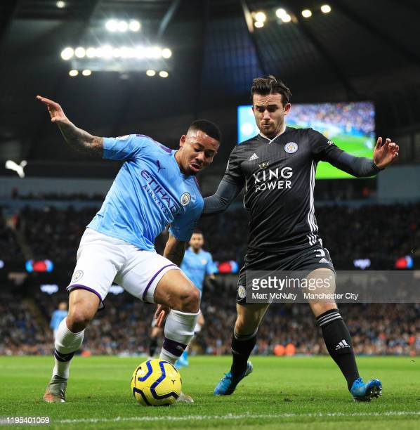 Gabriel Jesus of Manchester City takes on Ben Chilwell of Leicester City during the Premier League match between Manchester City and Leicester City...
