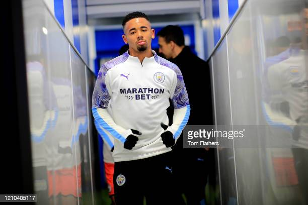 Gabriel Jesus of Manchester City walks out to warm up prior to the FA Cup Fifth Round match between Sheffield Wednesday and Manchester City at...