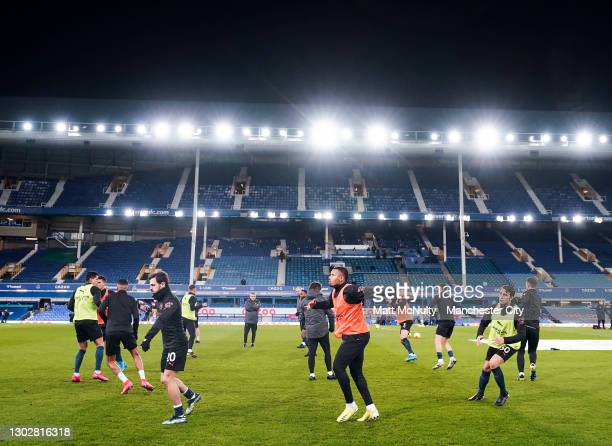 Gabriel Jesus of Manchester City warms up during the Premier League match between Everton and Manchester City at Goodison Park on February 17, 2021...